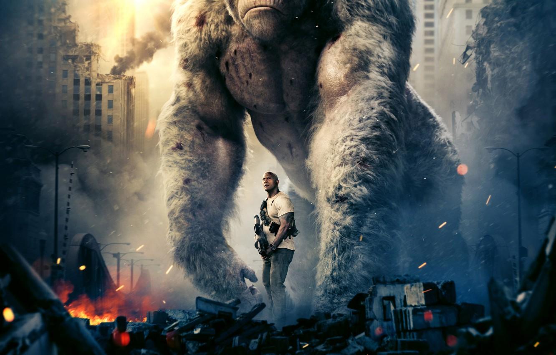 Фото обои город, оружие, фантастика, огонь, дым, обезьяна, горилла, развалины, огромная, боевик, постер, Дуэйн Джонсон, Dwayne Johnson, …