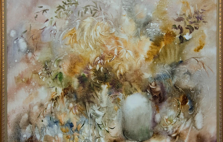 Фото обои цветы, картина, лепестки, пух, ваза, Натюрморт, Сфумато, сувенирная живопись, Петренко Светлана, зимний стиль