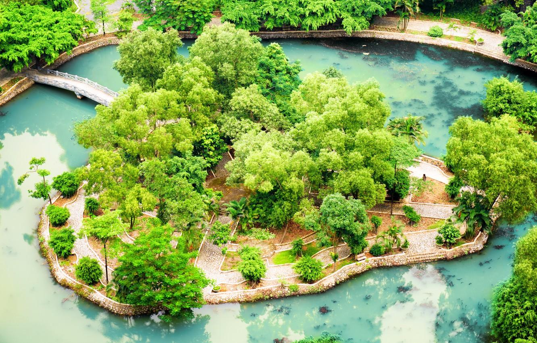 Фото обои Пруд, Парк, Вьетнам, Мосты, Ninh Binh, Tropical Garden