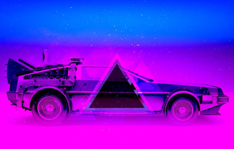Фото обои Авто, Музыка, Неон, Машина, Треугольник, DeLorean DMC-12, DeLorean, DMC-12, DMC, Electronic, Synthpop, Darkwave, Synth, Retrowave, …