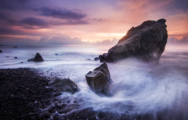 Фото обои море, пляж, небо, природа, камни