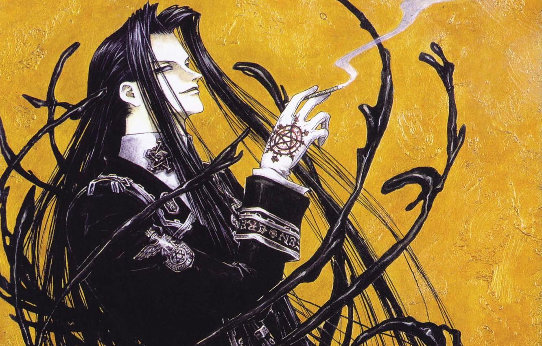 Фото обои дым, сигарета, перчатки, trinity blood, пентаграмма, длинные волосы, ухмылка, art, военная форма, кровь триединства, Isaak …