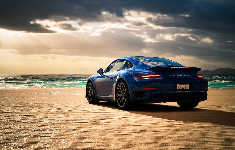 Фото обои море, пляж, синий, Porsche 911 Turbo S