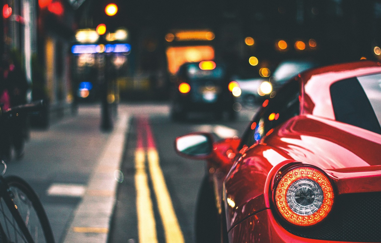 Фото обои велосипед, полоса, автомобиль, Ferrari 458 Italia, Marc Kleen