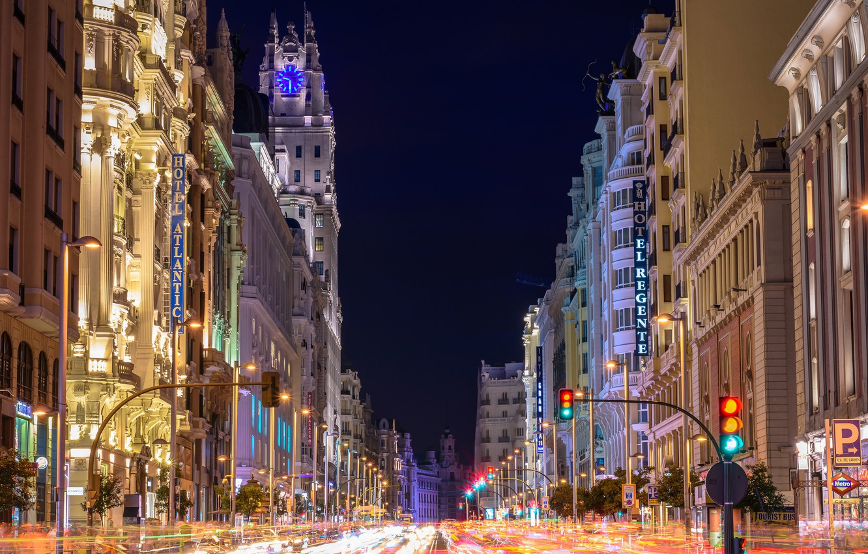Обои дома, улица, фонари, движение, ночь. Города foto 10