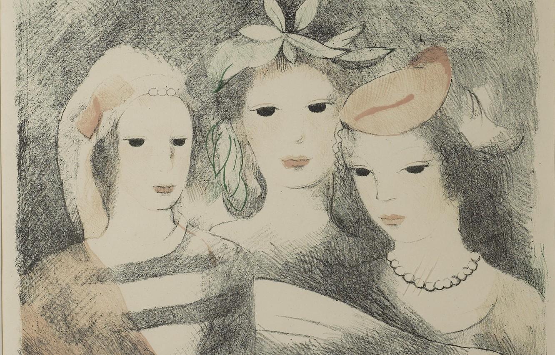 Фото обои цветы, бусы, три девушки, Пение, Модерн, Мари Лорансен