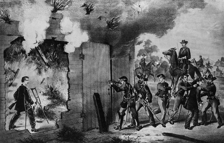 Фото обои ружьё, револьвер, костыли, военые, Последние часы Джона Уилкса Бута