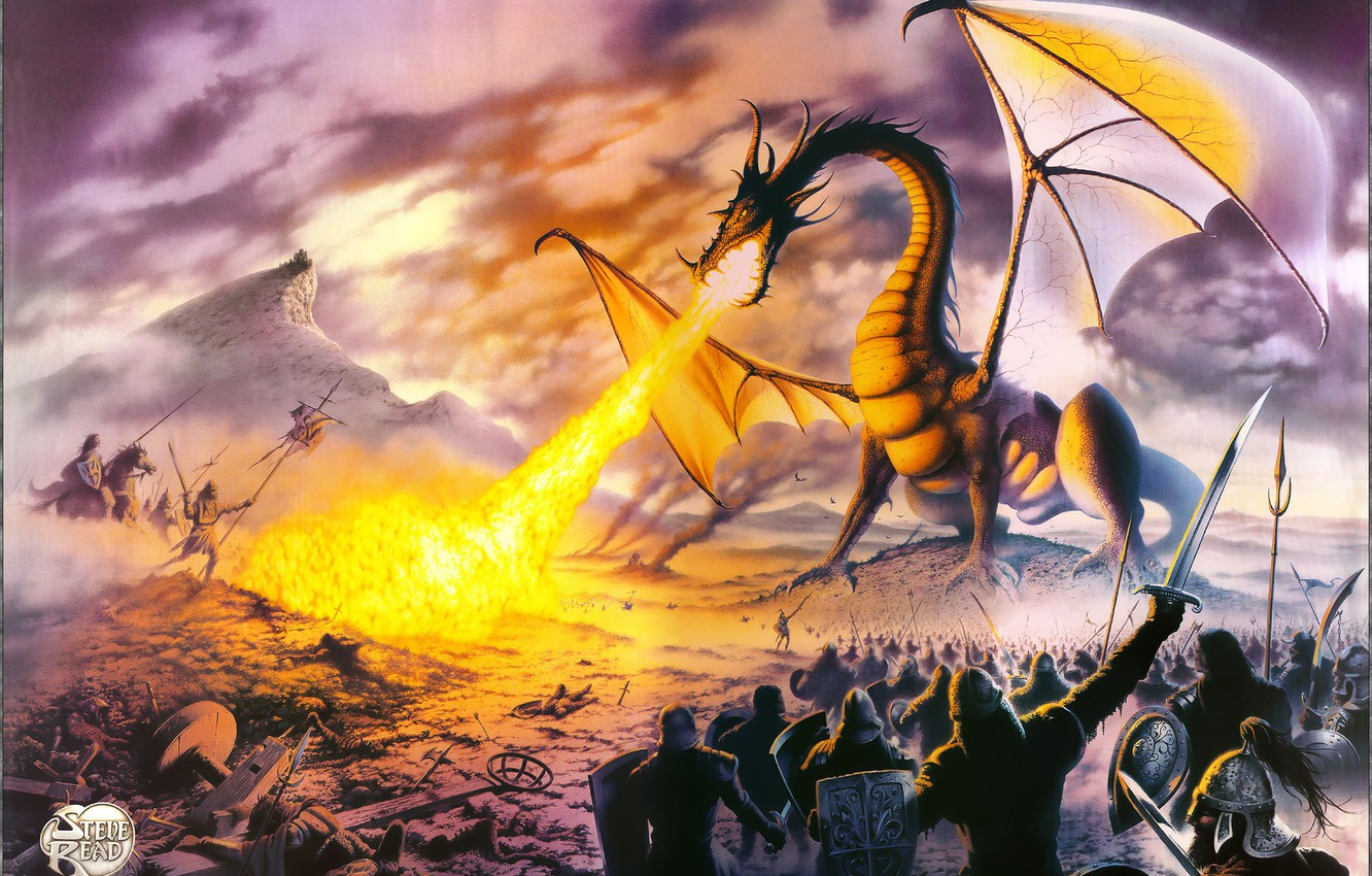 Фото обои Dragon, poster, Lord, Steve-Read, TOLKIEN, MISK PAINTERS