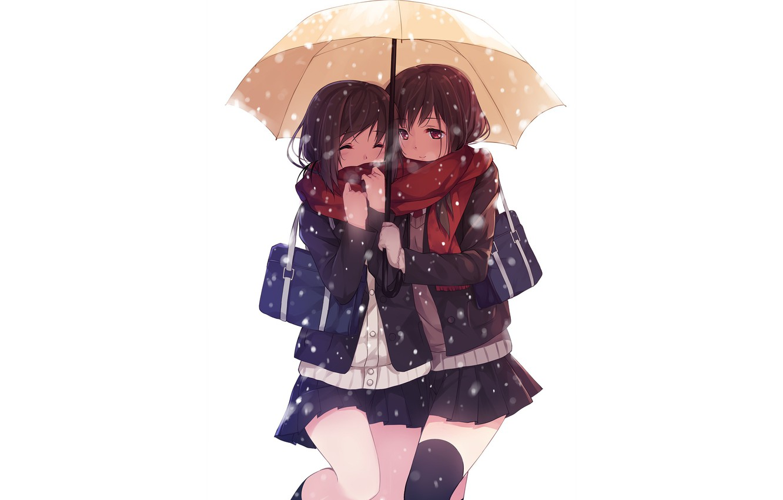 Фото обои девушки, девочки, зонт, аниме, белый фон