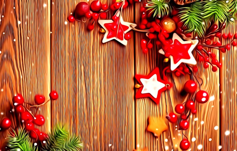 Фото обои украшения, ягоды, рендеринг, фантазия, Новый Год, звездочки, картинка, еловые ветки, деревянные доски