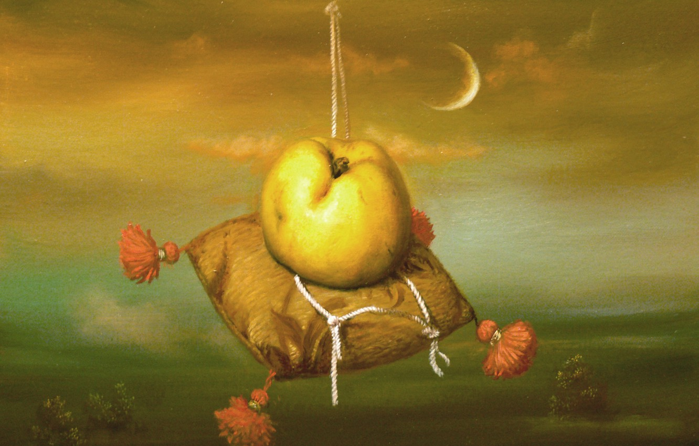 Фото обои луна, яблоко, подушка, Сюрреализм, Лазарев И.А