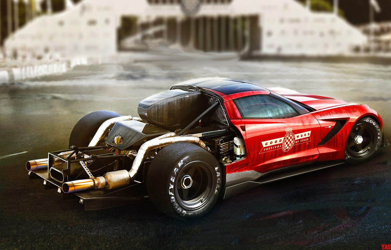 Фото обои Красный, Авто, Corvette, Машина, Автомобиль, Арт, Art, Corvette Z06, Yasid Design, Yasid Oozeear, YASIDDESIGN, Corvette ...