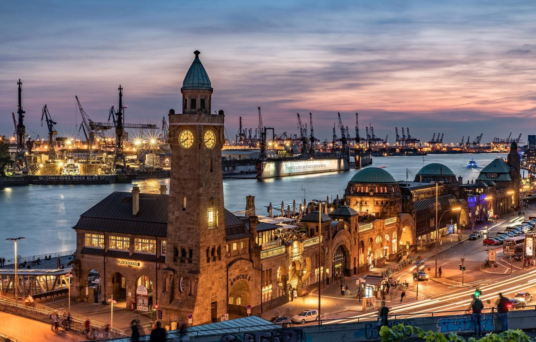 Обои дома, гамбург, германия, ночь, башня, кран. Города foto 6