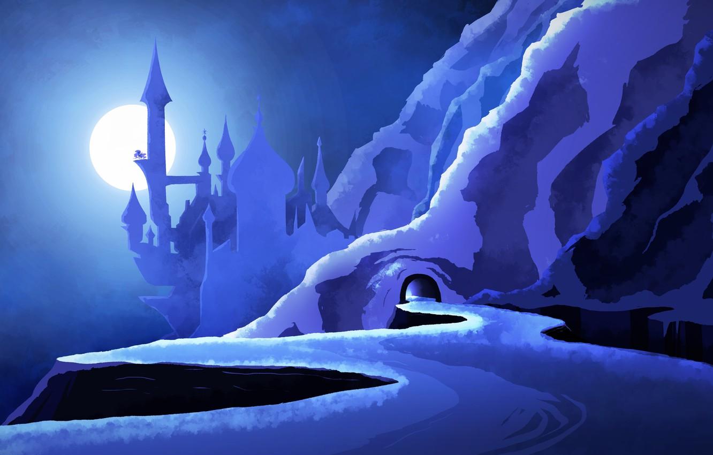 Фото обои дорога, синий, замок, голубой, луна, гора, пещера, blue, MLP, Luna, mount, My little Pony Friendship …