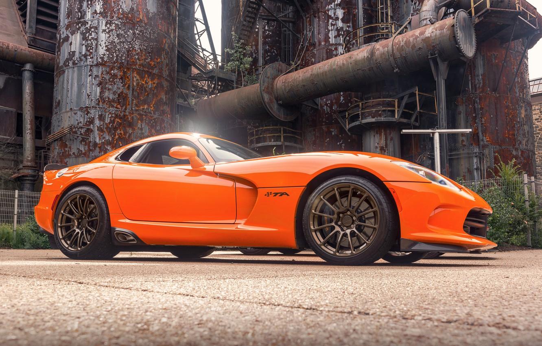 Фото обои оранжевый, спорткар, Viper, Dodge Viper