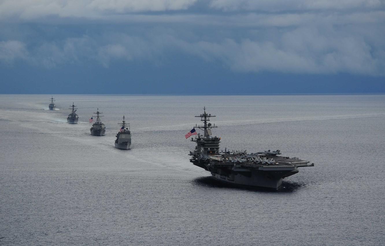 Фото обои море, корабль, авианосец, США, эсминец, «Арли Бёрк», американский авианосец, USS Nimitz (CVN-68)