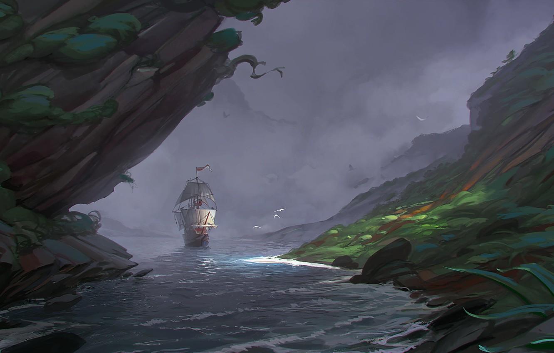 Фото обои корабль, парусник, бухта, арт, sea, Sergey Katsukov