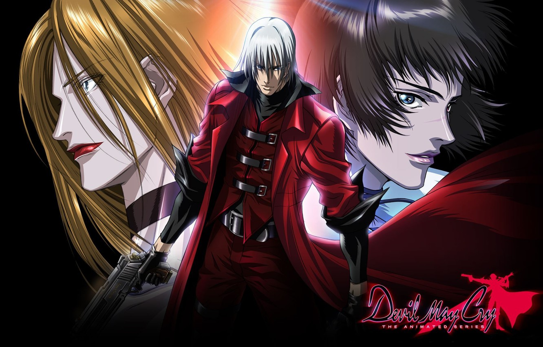 Фото обои пистолет, парень, шрам, ухмылка, Dante, седой, убийцы, красный плащ, Devil May Cry, Lady, злобный взгляд, …