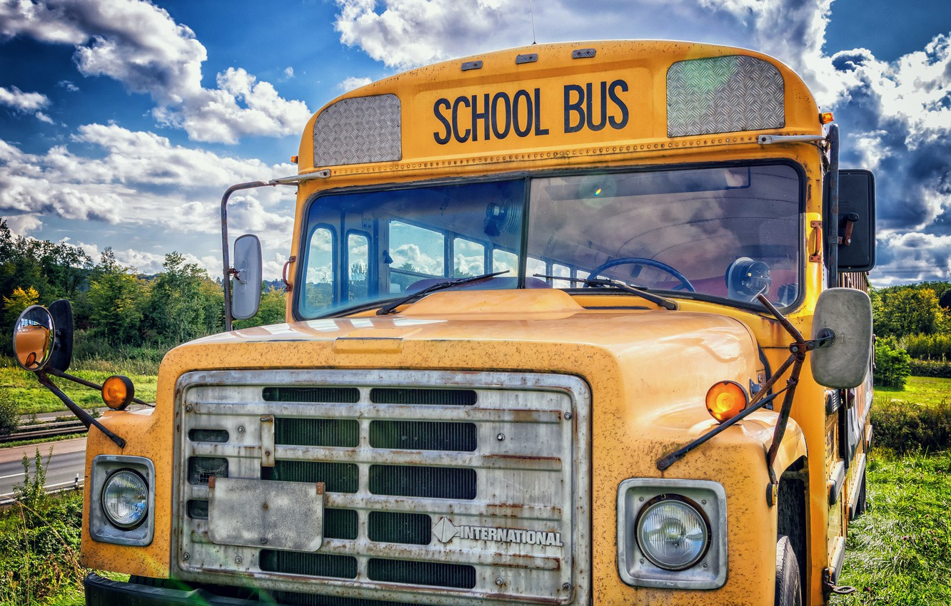 Фото обои hdr, сша, usa, high resolution, школьный автобус, school bus, ultra hd