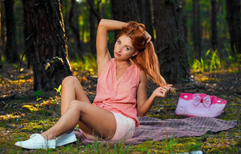 Фото обои Девушка, Взгляд, Модель, Лицо, Michelle, Ноги, Naomi, Рыжая, Сексуальная, Красотка, Секси, Красивая, Позирует, Милая, Red …