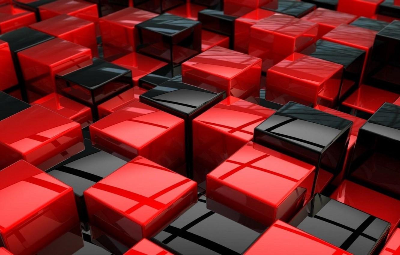 Фото обои красный, кубики, черный, текстура