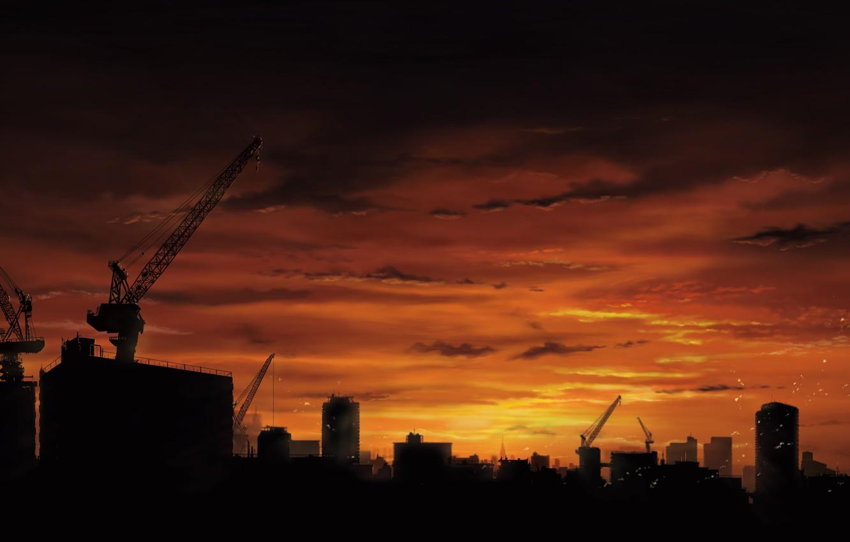 Фото обои небо, закат, город, башенные краны