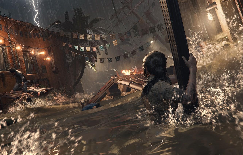 Фото обои вода, Tomb Raider, Лара Крофт, Shadow of the Tomb Raider