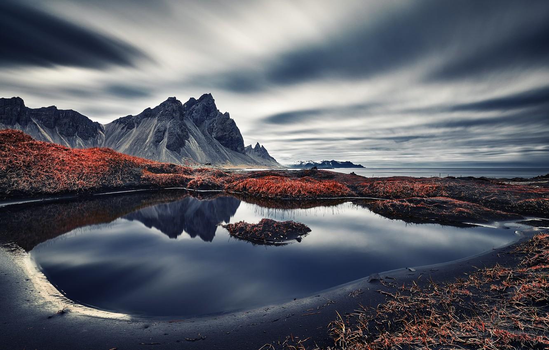 Обои берег, море, Vestrahorn Islande. Природа foto 10
