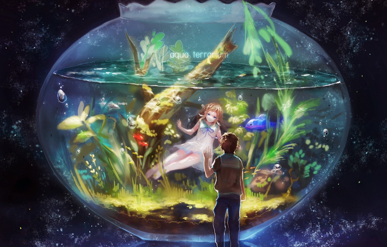 Фото обои рыбки, водоросли, пузырьки, аквариум, двое, звездное небо, Nagi no Asukara, Hikari Sakishima, Manaka Mukaido, Когда …