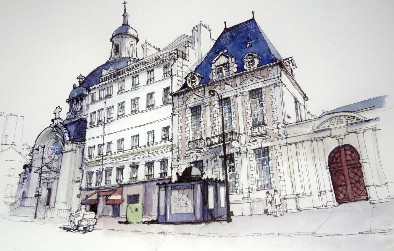 Фото обои дом, улица, рисунок, Франция, Париж, акварель, собор