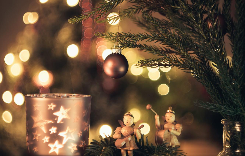 Фото обои праздник, игрушки, ёлка