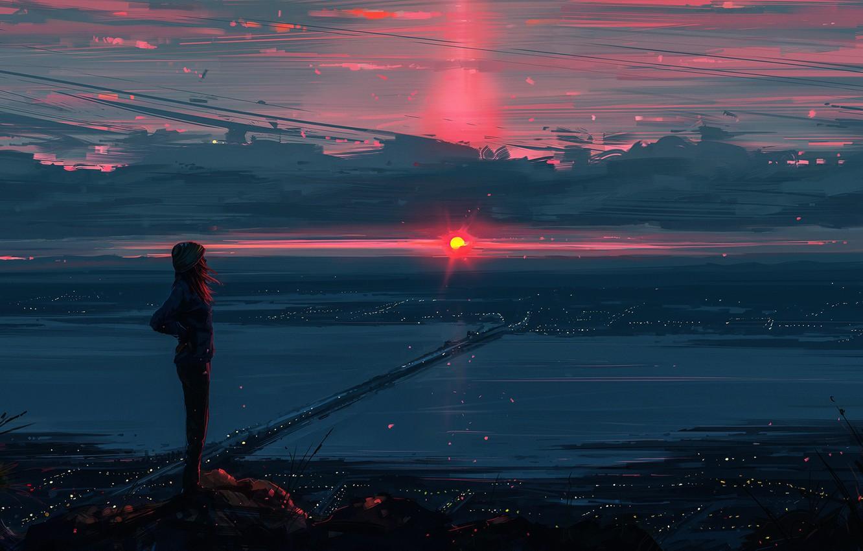 Фото обои небо, взгляд, девушка, город, рассвет, арт, красиво