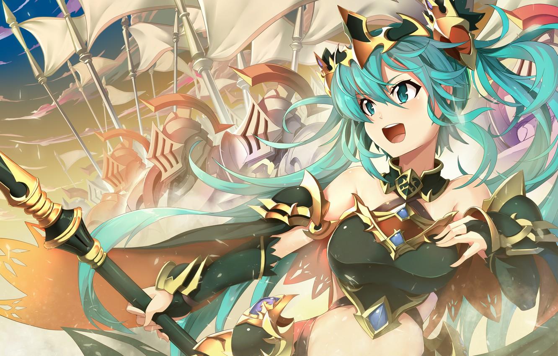 Фото обои девушка, оружие, аниме, воин, арт, vocaloid