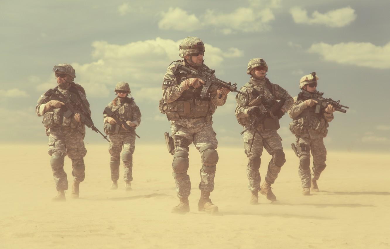 Фото обои пустыня, армия, солдаты, США, отряд, армия США