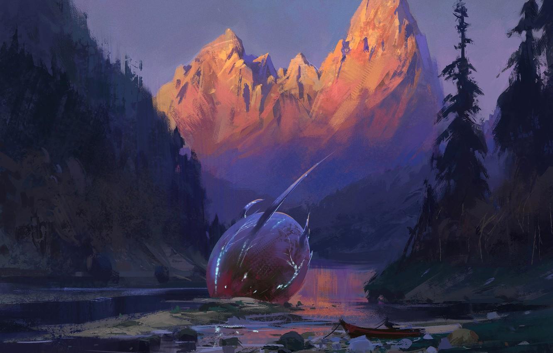 Фото обои fantasy, forest, river, trees, landscape, nature, sunset, mountains, man, digital art, artwork, boat, crash, fantasy …