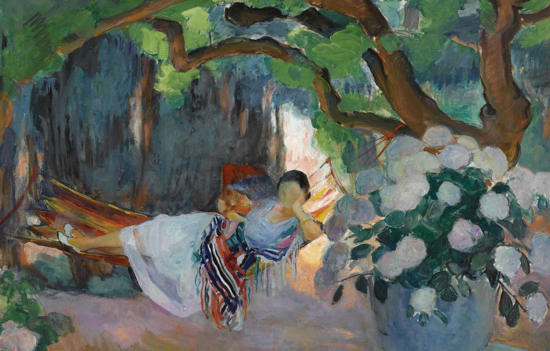Фото обои картина, жанровая, Henri Lebasque, Анри Лебаск, Молодая Женщина в гамаке