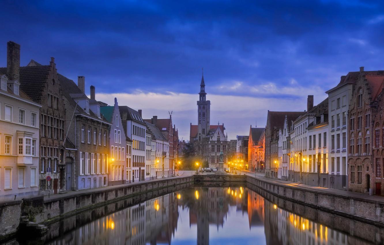 Обои канал, бельгия, брюгге, дома, ночь. Города foto 7
