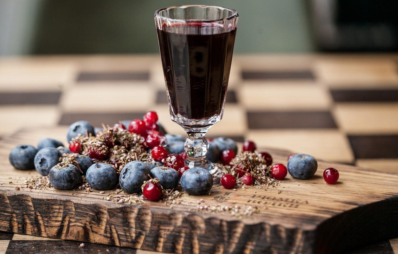 Фото обои ягоды, черника, сок, клюква