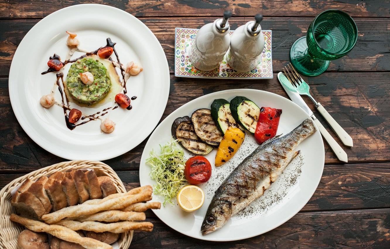 Фото обои еда, хлеб, овощи, ассорти, запеченная рыба