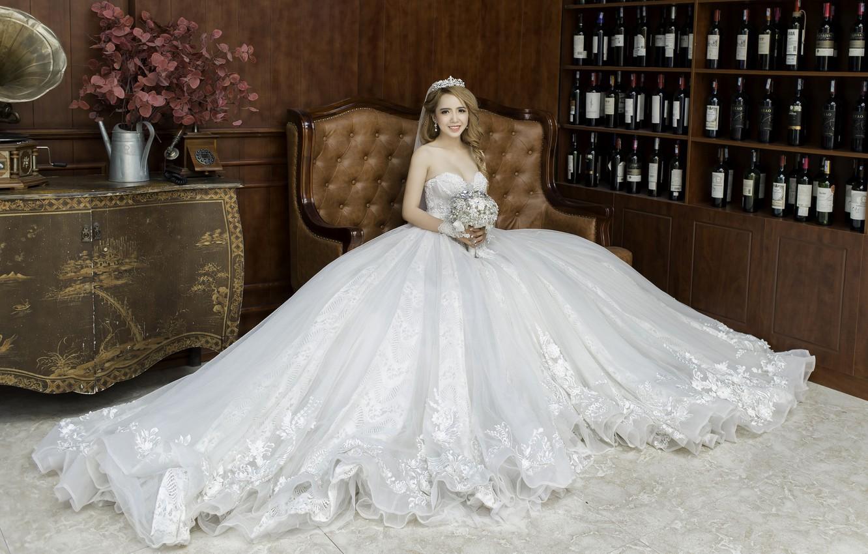 Фото обои праздник, платье, прическа, невеста, фотосессия, счастливая