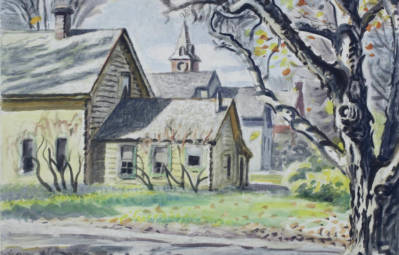 Фото обои New York, 1946, Чарльз Эфраим Бёрчфилд, Gardenville, Autumn Morning