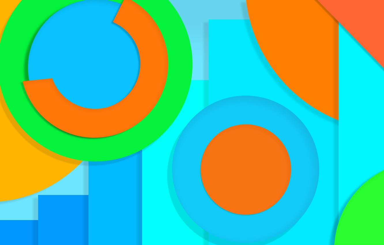 Фото обои круги, желтый, абстракция, голубой, салатовый, design, color, material