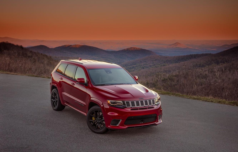 Фото обои car, red, nature, Jeep, Cherokee, Jeep Grand Cherokee Trackhawk, Grand Cherokee Trackhawk