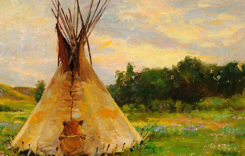Фото обои хижина, хаос, Joseph Henry Sharp, Lone Tepee