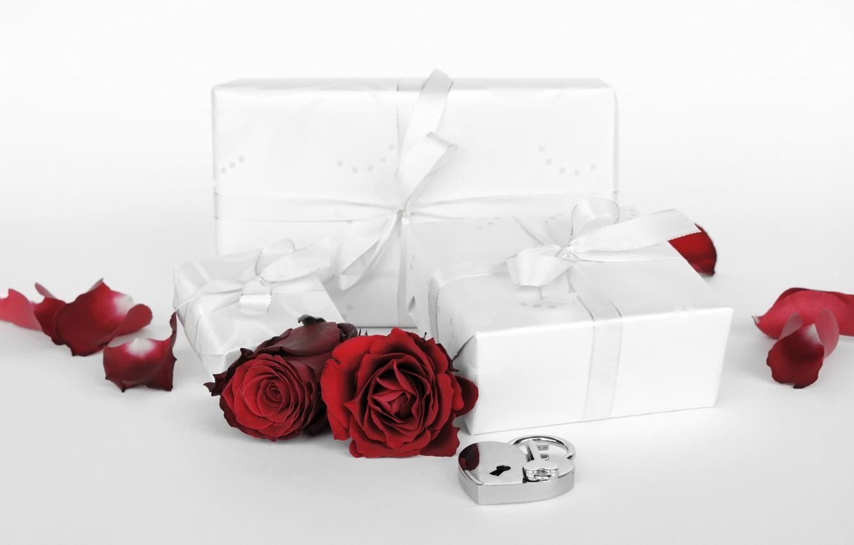 Фото обои цветы, праздник, подарок, сердце, розы, день Святого Валентина, замочек