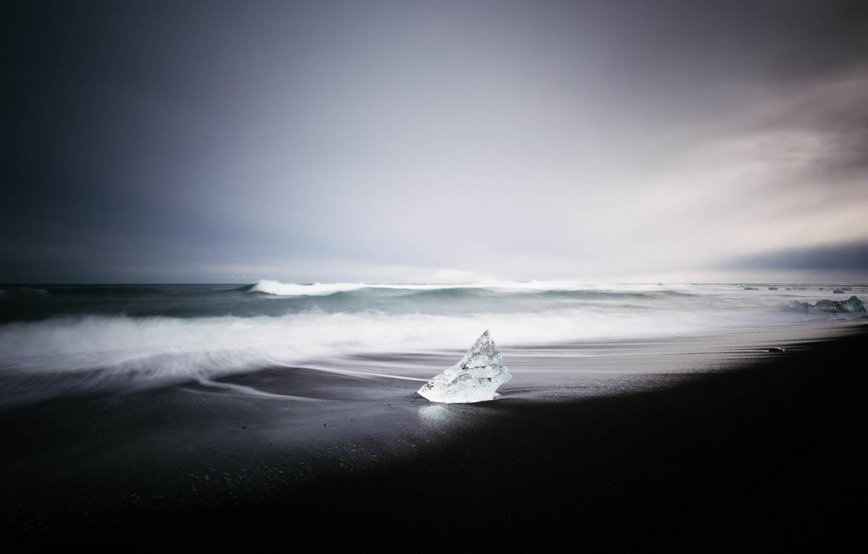 Фото обои море, пляж, лёд, Исландия
