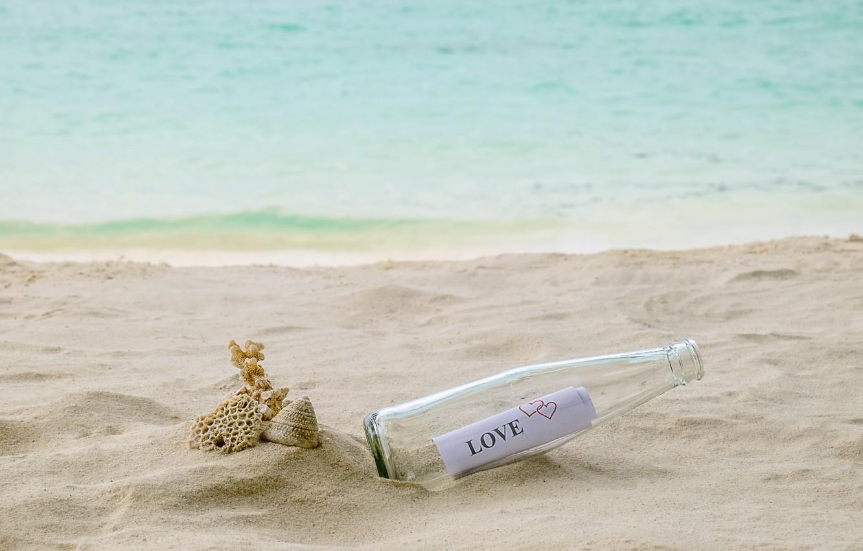 Фото обои песок, море, пляж, лето, письмо, бутылка, summer, love, beach, sea, romantic, sand, letter, bottle