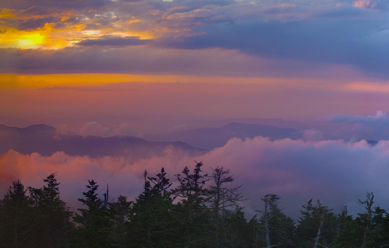 Фото обои небо, закат, горы, панорама, сша, северная америка, multi monitors, широкоформатные HD wallpapers, Tennessee, pano, пано, …