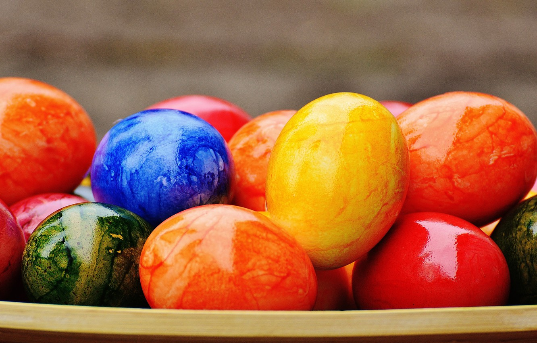 Фото обои colorful, Пасха, rainbow, Easter, eggs, decoration, Happy, яйца крашеные