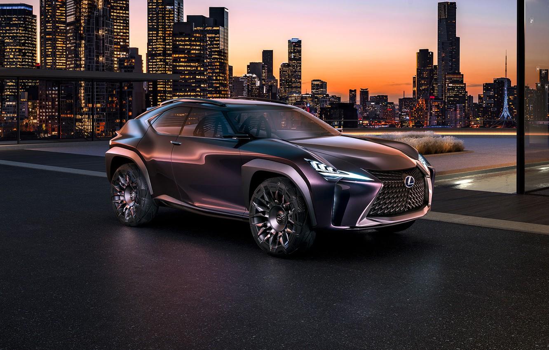 Фото обои машина, Concept, ночь, город, здания, автомобиль, Luxury, Crossover, огни., Lexus UX
